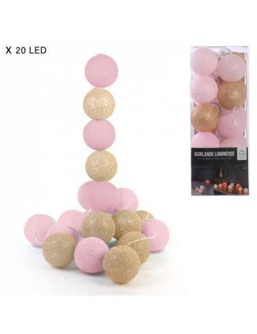 Girlianda su 20 LED rutuliukų, 3,45 m, auksinio - rožinio...