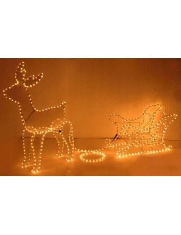 Kalėdinis elnias su rogėmis. 504 LED