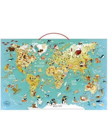 Prancūziškas fantastinis pasaulio žemėlapis su magnetukais
